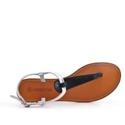 Sandalia de piel imitación negra