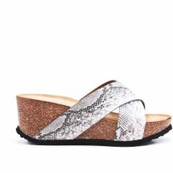 Sandale mule grise à talon compensé