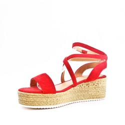 Red sandals with wedge