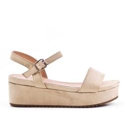 Beige sandals with platform sole