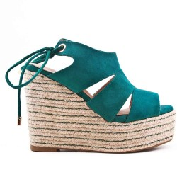 Green Wedge sandal with espadrille sole