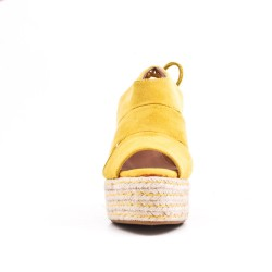 Yellow Wedge sandal with espadrille sole