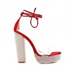 Red sandal with heels adorned with rhinestones