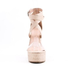 Beige sandal with wedge heel