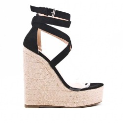 Black sandal with wedge heel