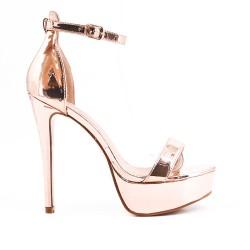 Metallic champagne patent high heel sandal