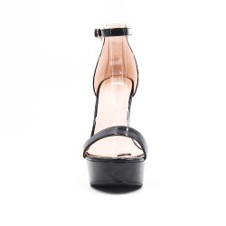 Metallic black patent high heel sandal