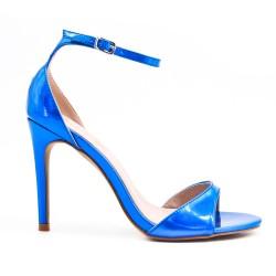 Metallic gold patent high heel sandal