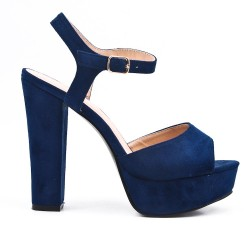 Navy sandal in faux suede with high heels