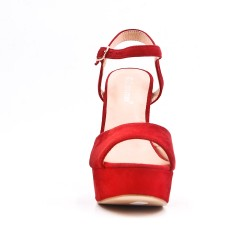 Red sandal in faux suede with high heels