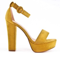 Yellow faux bucked suede sandal