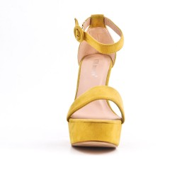 Sandalia de gamuza amarillo de imitación