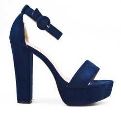 Navy faux bucked suede sandal