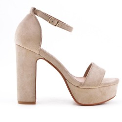 Sandalia de gamuza beige de imitación