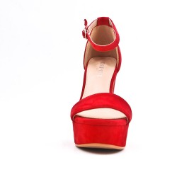 Red faux bucked suede sandal