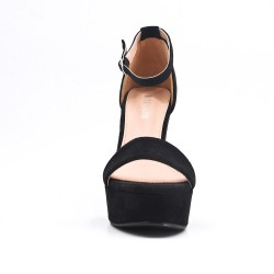 Black faux bucked suede sandal