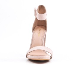 Beige faux bucked suede sandal
