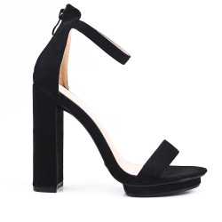 Black sandal in faux suede with high heels