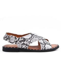 Snakeskin imitation leather flat sandal
