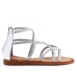 Sandale argent en simili cuir à bride tressé