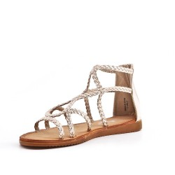 Golden imitation leather sandal with braided bridle
