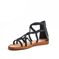 Sandalia de piel sintética negra con brida trenzada