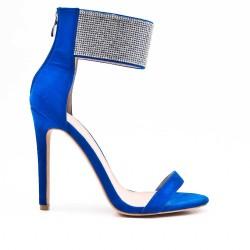 Sandale bleu orné de strass à talon