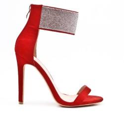 Sandale rouge orné de strass à talon