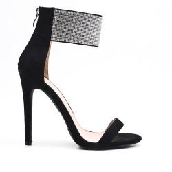 Sandale noire orné de strass à talon