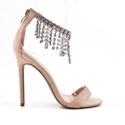 Beige sandal with heel jewels