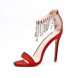Red sandal with heel jewels