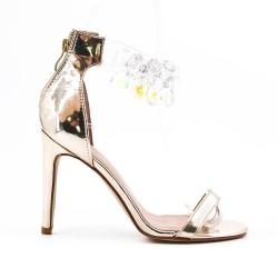 Golden sandal with heel jewels