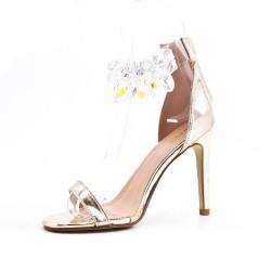 Sandale dorée orné de bijoux à talon