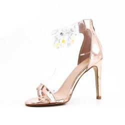 Sandale champagne orné de bijoux à talon