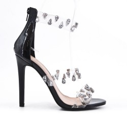Black sandal with heel jewels