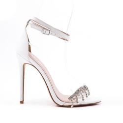 White sandal with heel jewels