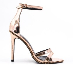 Metallic silver patent sandal with high heel