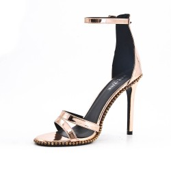 Metallic champagne patent sandal with high heel