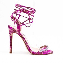 Fichsia sandal with floral print