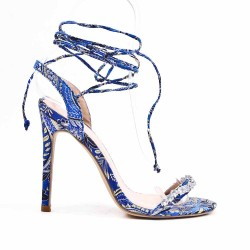 Blue sandal with floral print