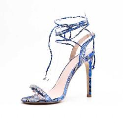 Sandalia blue con estampado floral