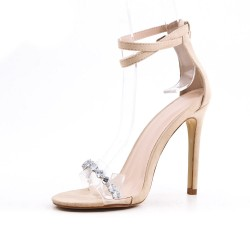 Sandalia beige con joyas de tacón