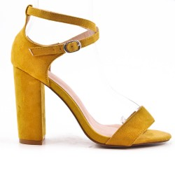 Yellow sandal in faux suede with high heels
