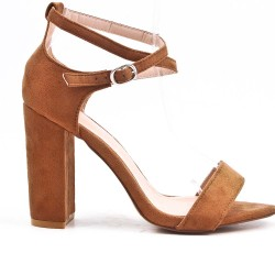 Camel sandal in faux suede with high heels