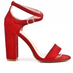Sandalia rojo en gamuza sintética con tacones altos