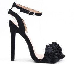 Black sandal in faux suede with flower