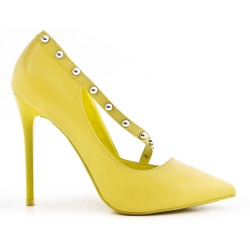 Escarpin jaune en simili cuir à talon