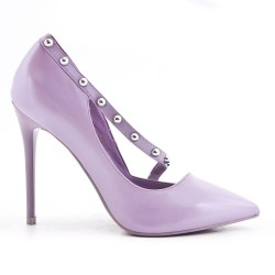Escarpin violet en simili cuir à talon