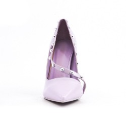 Purple imitation leather pumps with heels