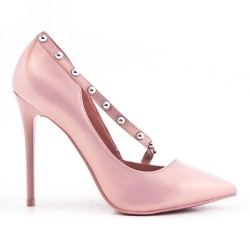 Pink leatherette pump with heels